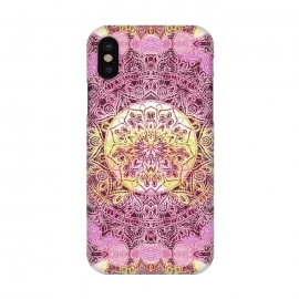 iPhone X  Pink yellow solar ethnic mandala drawing by Oana