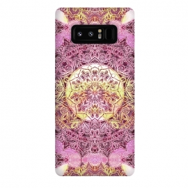 Galaxy Note 8  Pink yellow solar ethnic mandala drawing by Oana