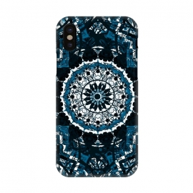iPhone X  Black blue ethnic geometric mandala by Oana