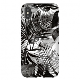 iPhone Xs Max  Black transparent tropical leaves - ficus and palm by Oana