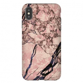 iPhone Xs Max  Pink marble with dark cracks texture by Oana