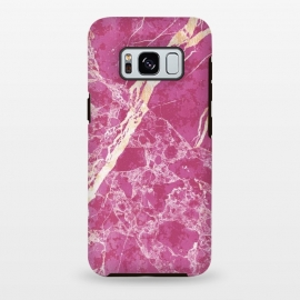 Galaxy S8 plus  Vibrant Fuchsia pink marble with golden cracks by
