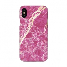 iPhone X  Vibrant Fuchsia pink marble with golden cracks by