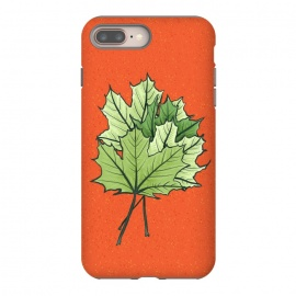 Maple Leaves Digital Art In Green And Orange by Boriana Giormova (leaf, green leaves, orange, nature, plant, natural, foliage, fresh, spring, summer, ecology, illustration, floral, decorative, flora, leaves, green leaf, botanical, leaf art, botanical design, nature love, nature lover, nature lovers, beautiful, pretty, fun, drawing, painting, digital art, bright, v)