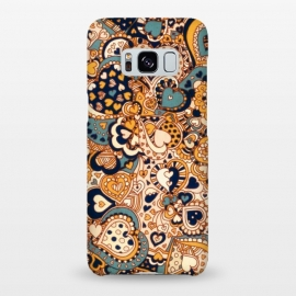 Galaxy S8+  Heart Doodles in Mustard and Teal by Micklyn Le Feuvre (orange,navy,teal,hearts,heart,love,valentines day,doodles,doodle,pattern,micklyn,cream,linework,cute,girly,trendy,texture,drawing,patterns,fall,autumn,colors)