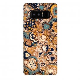 Galaxy Note 8  Heart Doodles in Mustard and Teal by Micklyn Le Feuvre (orange,navy,teal,hearts,heart,love,valentines day,doodles,doodle,pattern,micklyn,cream,linework,cute,girly,trendy,texture,drawing,patterns,fall,autumn,colors)