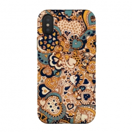 iPhone Xs / X  Heart Doodles in Mustard and Teal by Micklyn Le Feuvre (orange,navy,teal,hearts,heart,love,valentines day,doodles,doodle,pattern,micklyn,cream,linework,cute,girly,trendy,texture,drawing,patterns,fall,autumn,colors)