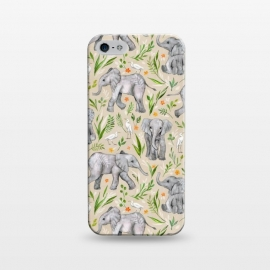 iPhone 5/5E/5s  Little Watercolor Elephants and Egrets on Neutral Cream by Micklyn Le Feuvre (baby,elephants,african,elephant,watercolor,watercolour,egrets,egret,bird,birds,floral,flowers,leaf,leaves,nature,wildlife,micklyn,pattern,illustration,cute,kids,sweet,grey,tan,texture)