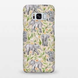 Galaxy S8+  Little Watercolor Elephants and Egrets on Neutral Cream by Micklyn Le Feuvre