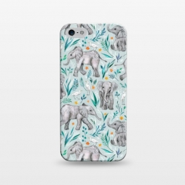 iPhone 5/5E/5s  Little Watercolor Elephants and Egrets on Light Blue by Micklyn Le Feuvre (elephant,elephants,egret,egrets,bird,birds,watercolor,watercolour,illustration,micklyn,pattern,african,cute,baby,nature,flowers,floral,leaves,light blue, texture,sweet,wildlife)