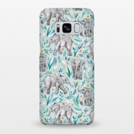 Galaxy S8+  Little Watercolor Elephants and Egrets on Light Blue by Micklyn Le Feuvre