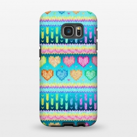 Galaxy S7 EDGE  Cozy Knit with Rainbow Hearts on Teal Blue by Micklyn Le Feuvre