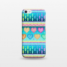 iPhone 5C  Cozy Knit with Rainbow Hearts on Teal Blue by Micklyn Le Feuvre (hearts,heart,fair isle,knit,pattern,patterns,cosy,cozy,winter,warm,knitted,cute,micklyn,design,ombre,gradient,rainbow,pastel,colorful,texture,love,stripes,valentines day,pink,purple,teal,lime,mustard,woolly)