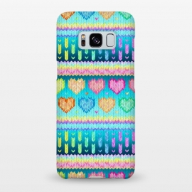 Galaxy S8+  Cozy Knit with Rainbow Hearts on Teal Blue by Micklyn Le Feuvre (hearts,heart,fair isle,knit,pattern,patterns,cosy,cozy,winter,warm,knitted,cute,micklyn,design,ombre,gradient,rainbow,pastel,colorful,texture,love,stripes,valentines day,pink,purple,teal,lime,mustard,woolly)