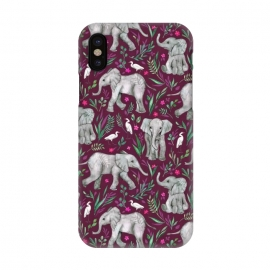 iPhone X  Little Watercolor Elephants and Egrets on Burgundy Red by  (baby,cute,african,elephants,bird,birds,ruby,red,burgundy,grey,animals,pattern,watercolor,watercolour,micklyn,nature,wildlife,sweet,flowers,flower,leaves,egrets,drawing,illustration,painted)