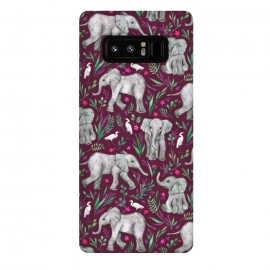 Galaxy Note 8  Little Watercolor Elephants and Egrets on Burgundy Red by Micklyn Le Feuvre