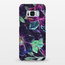 Galaxy S8+  Whimsical hand paint floral and golden confetti design by InovArts
