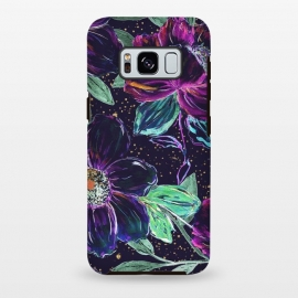 Galaxy S8 plus  Whimsical hand paint floral and golden confetti design by