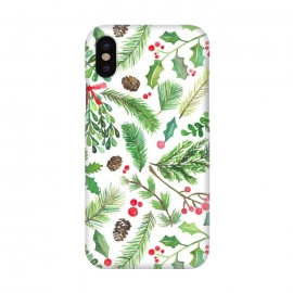 iPhone X  Watercolor Christmas Greenery by Noonday Design