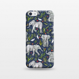 iPhone 5C  Little Watercolor Elephants and Egrets on Navy Blue by Micklyn Le Feuvre (watercolor,watercolour,elephants,baby,elephant,cute,bird,birds,egret,illustration,nature,pattern,micklyn,drawing,leaves,floral,flowers,wildlife,african,jungle,tropical,sweet,flower)