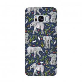 Little Watercolor Elephants and Egrets on Navy Blue by Micklyn Le Feuvre
