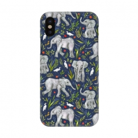 iPhone X  Little Watercolor Elephants and Egrets on Navy Blue by  (watercolor,watercolour,elephants,baby,elephant,cute,bird,birds,egret,illustration,nature,pattern,micklyn,drawing,leaves,floral,flowers,wildlife,african,jungle,tropical,sweet,flower)