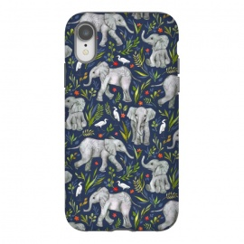 iPhone Xr  Little Watercolor Elephants and Egrets on Navy Blue by Micklyn Le Feuvre