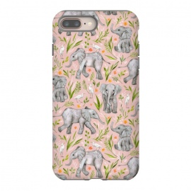 Little Watercolor Elephants and Egrets on Blush Pink  by Micklyn Le Feuvre
