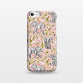 iPhone 5C  Little Watercolor Elephants and Egrets on Blush Pink  by Micklyn Le Feuvre