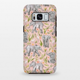 Galaxy S8 plus  Little Watercolor Elephants and Egrets on Blush Pink  by