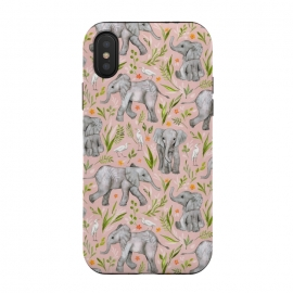 Little Watercolor Elephants and Egrets on Blush Pink  by Micklyn Le Feuvre (baby,african,elephant,elephants,cute,bird,birds,egret,micklyn,nature,pattern,jungle,tropical,drawing,illustration,watercolor,watercolour,leaves,flowers,sweet,blush,pink,grey)