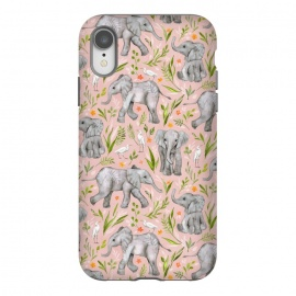 iPhone Xr  Little Watercolor Elephants and Egrets on Blush Pink  by Micklyn Le Feuvre (baby,african,elephant,elephants,cute,bird,birds,egret,micklyn,nature,pattern,jungle,tropical,drawing,illustration,watercolor,watercolour,leaves,flowers,sweet,blush,pink,grey)