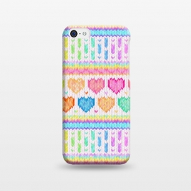 iPhone 5C  Cozy Knit with Rainbow Hearts on Off White by Micklyn Le Feuvre (heart,hearts,love,valentines day,rainbow,colorful,pastels,pink,purple,lime,green,emerald,blue,turquoise,mint,micklyn,pattern,stripes,strip,chevron,knit,knitted,warm,texture,cute,cozy,cosy)