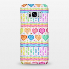 Galaxy S8+  Cozy Knit with Rainbow Hearts on Off White by Micklyn Le Feuvre (heart,hearts,love,valentines day,rainbow,colorful,pastels,pink,purple,lime,green,emerald,blue,turquoise,mint,micklyn,pattern,stripes,strip,chevron,knit,knitted,warm,texture,cute,cozy,cosy)