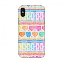 iPhone X  Cozy Knit with Rainbow Hearts on Off White by Micklyn Le Feuvre (heart,hearts,love,valentines day,rainbow,colorful,pastels,pink,purple,lime,green,emerald,blue,turquoise,mint,micklyn,pattern,stripes,strip,chevron,knit,knitted,warm,texture,cute,cozy,cosy)