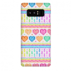 Galaxy Note 8  Cozy Knit with Rainbow Hearts on Off White by Micklyn Le Feuvre (heart,hearts,love,valentines day,rainbow,colorful,pastels,pink,purple,lime,green,emerald,blue,turquoise,mint,micklyn,pattern,stripes,strip,chevron,knit,knitted,warm,texture,cute,cozy,cosy)