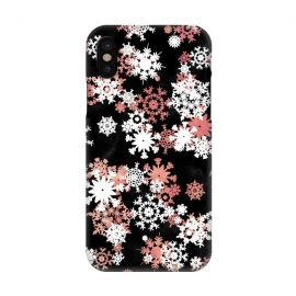 iPhone X  Rose gold and white snowflakes on black background by Oana