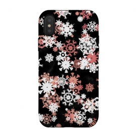 Rose gold and white snowflakes on black background by Oana