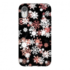 iPhone Xr  Rose gold and white snowflakes on black background by