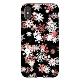 iPhone Xs Max  Rose gold and white snowflakes on black background by Oana