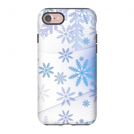 iPhone 8/7  Blue icy snowflakes - Christmas illustration by Oana