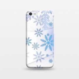 iPhone 5C  Blue icy snowflakes - Christmas illustration by Oana