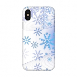 iPhone X  Blue icy snowflakes - Christmas illustration by Oana