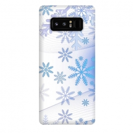 Galaxy Note 8  Blue icy snowflakes - Christmas illustration by Oana
