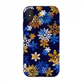 Blue, gold, white snowflakes by Oana