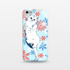 iPhone 5/5E/5s  White cat and blue white gold snowflakes by