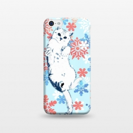 White cat and blue white gold snowflakes by Oana