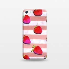 iPhone 5C  strawberries on watercolor painted stripes by Oana