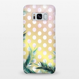 Galaxy S8+  tropical palm leaves on golden dotted background by Oana