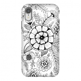 iPhone Xr  Simple Floral by Rose Halsey (drawing ,floral,flowers,nature,pretty,white,black,leaves)